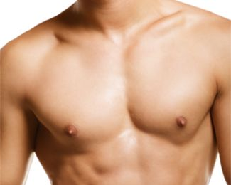 Man's muscular, well defined chest